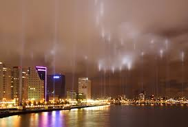 Lights mark the outline of the bombing by the Luftwaffe in Rotterdam.